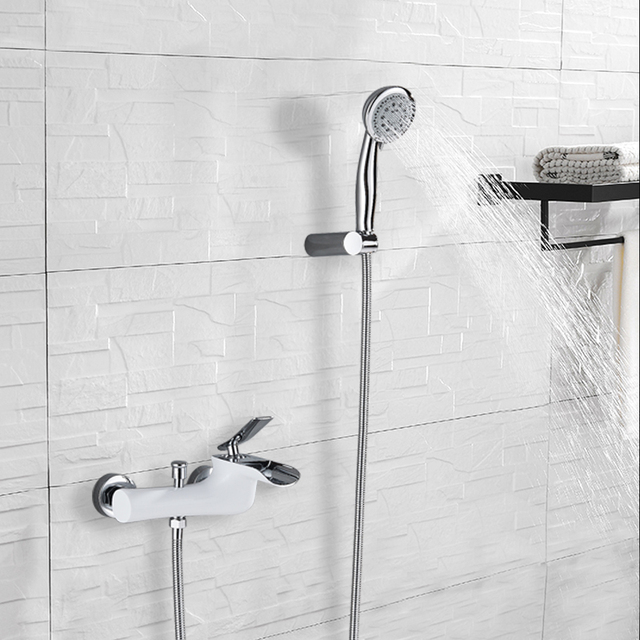 Fashion Style White Chrome Bathtub Faucet Mixer Tap With 5-Function Sprayer Hand Shower Watelfall Spout Hot and Cold Water