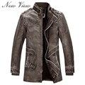 Leather Jacket Slim Warm Men Washed Leather Motorcycle Standing Collar Jackets Coat Plus Size 3XL Jaqueta De Couro Parka