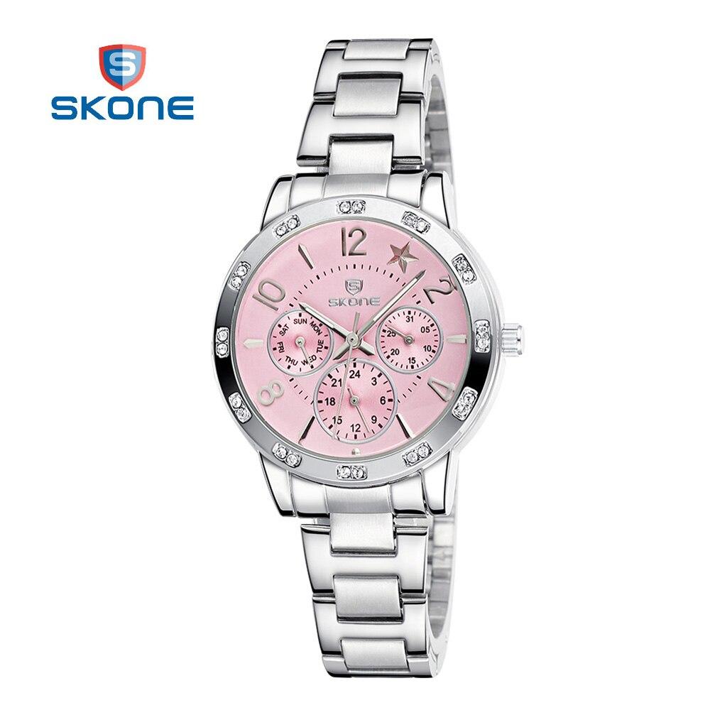 Prix pour SKONE Femmes Montre De Luxe Marque 2016 Acier Dames Montres pour Femmes Horloge De Mode Quartz Montre Relogio Feminino Relojes Mujer