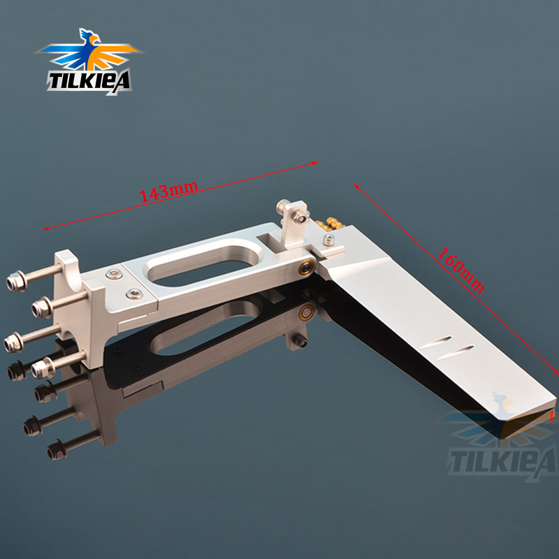 Good Quality T Type Holder CNC Aluminum Alloy 143 x160mm Rudder with Dual Water Pickup For Rc Boat