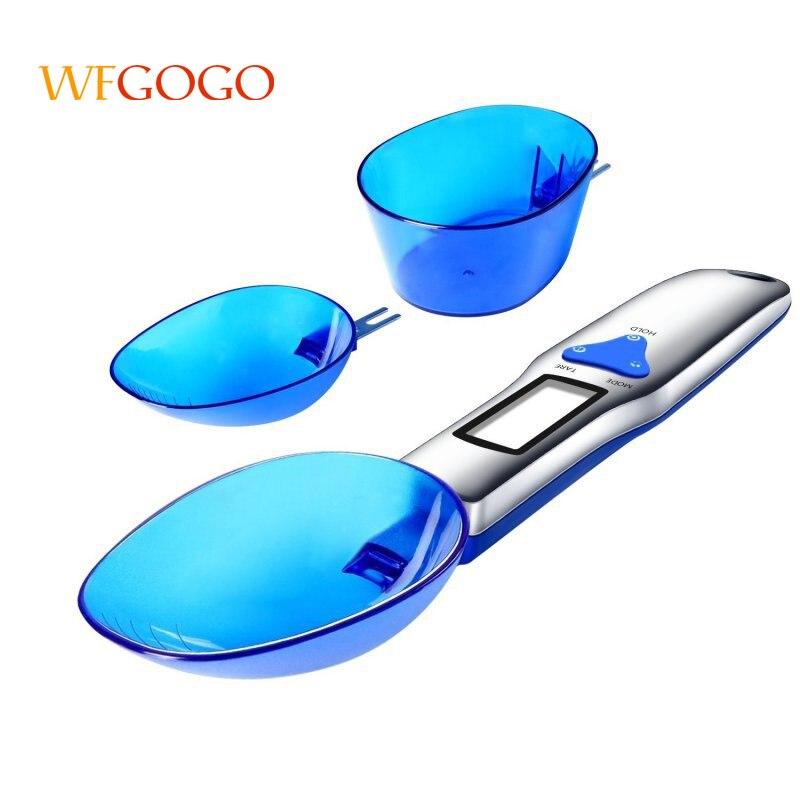 WFGOGO Gram Electronic cuchara peso volumen alimentos 3 unids/set 300g/0,1g Portable LCD Digital cocina escala cuchara de medición