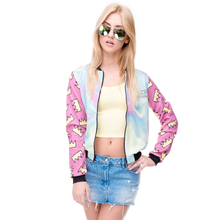 Hot sale Brand Women Bomber Jacket 3D Printed Princess Crown