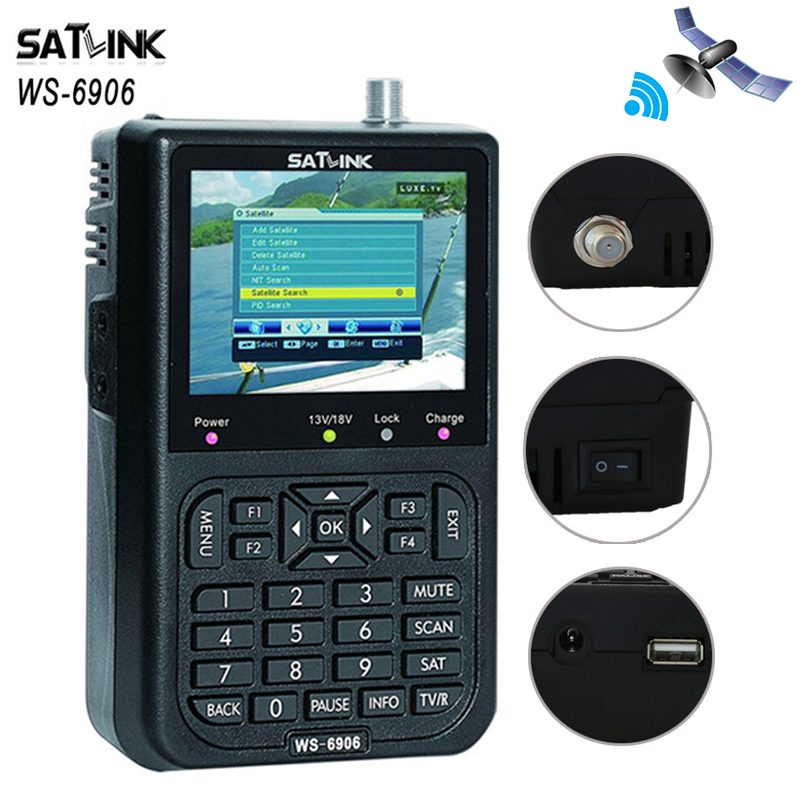 [Genuine] Satlink WS-6906 3.5 inch DVB-S FTA Digital Satellite Finder Meter satFinder meter satellite finder LCD Sat Finder digital satellite satfinder meter satellite finder lcd sat finder satellite signa