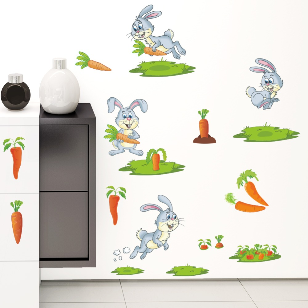 Galleria fotografica Removable Cute <font><b>Happy</b></font> Rabbit eat carrots Wall Stickers For Kids Rooms Animal Printed Nursery <font><b>Home</b></font> Decor Accessories Decal Poster