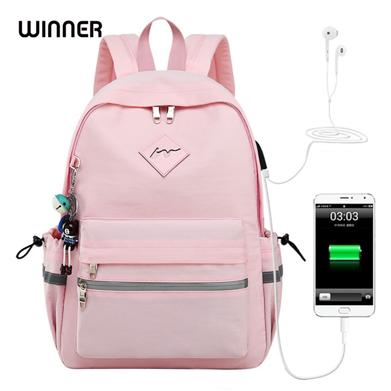 WINNER 2018 Girl Anti Theft Backpack USB Charging Cartoon Animal Pendant School Bags Backpack Women Waterproof Travel Bagpack