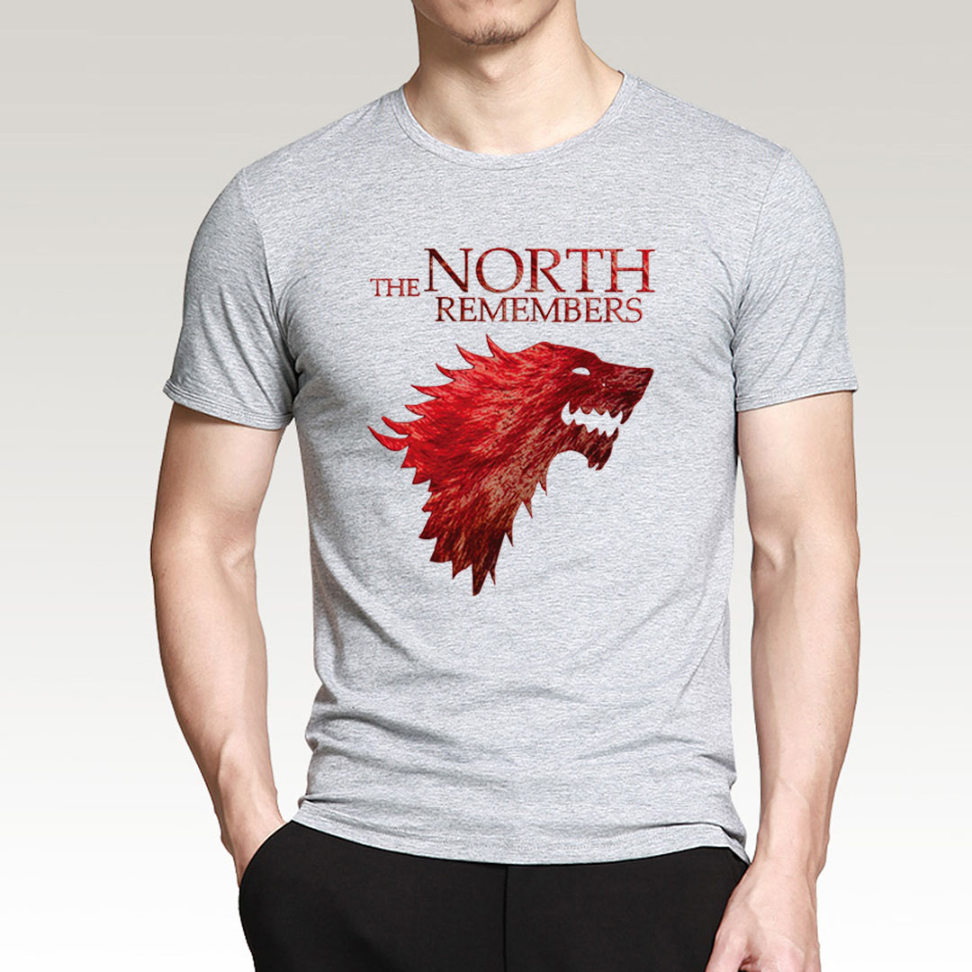 Hot Sale Game Of Thrones House Stark The North Remembers T Shirt Men 2019 Summer 100% Cotton High Quality Men's T-Shirts S-XXL