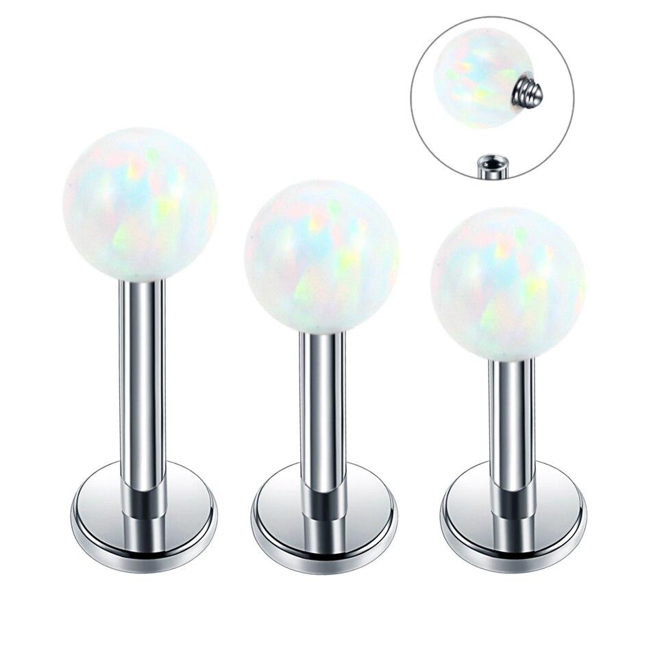 1PC Steel Opal Tragus Piercings Lip Rings Labret Piercings Barbell Lobe Earring Studs Ear Tragus Cartilage Piercing Body Jewelry