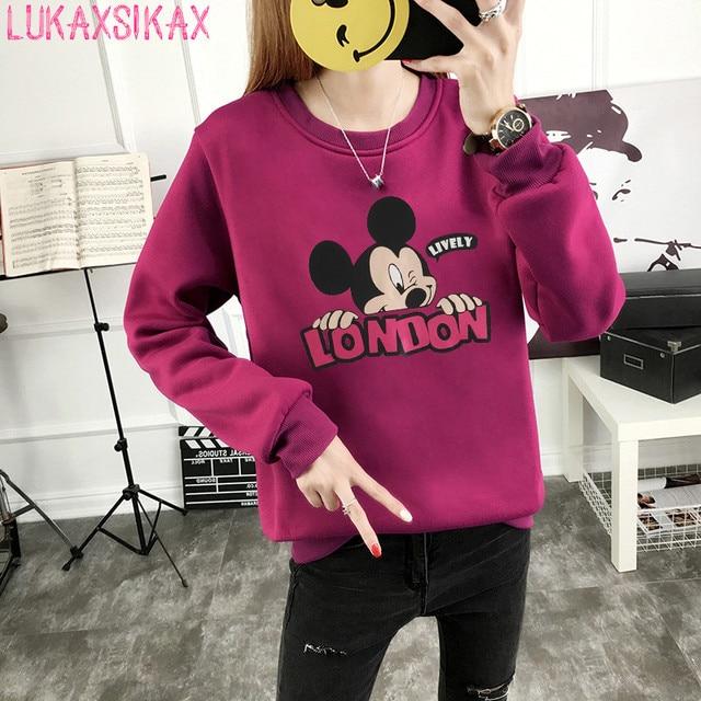 2018 nuevo otoño coreano de invierno de las mujeres sudadera Mickey impreso  espesar sudadera Jersey abrigo 8887a5848f31b