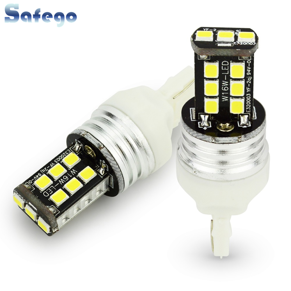 2pcs Safego T20 LED 2835 15SMD Car W21W 7440 LED Canbus Light Error Free Double Polars Brake Light Lamp DC 12V Reverse Lights image