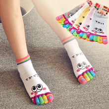 EUR34-37 Hot Sale Children Girl  Face Cute Funny Five Fingers Trainer Rainbow Color Toe Ankle Little Socks