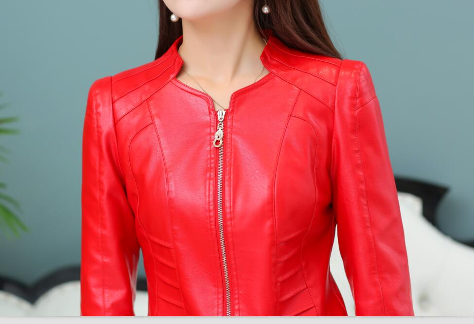 Femmes Y576 Mince Automne 4xl Green Vêtements Red Taille Moto Féminins Nouveau 2018 red Printemps Manteau Plus En deep Court Veste Cuir army La Black TrFwqT5R