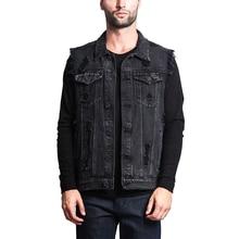 2019 Summer Men's Hole Denim Vest  Men's  Solid Cowboy Vest Male's Fashion Sleeveless Jacket Coat New Style Man's Clothing D40 цена