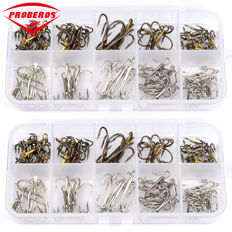New 100Pcs/Box fishing tackle Mixed Size 2/4/6/8/10 Fishing Hook High Qulity Brown Color Jig Big Hook Treble Hooks