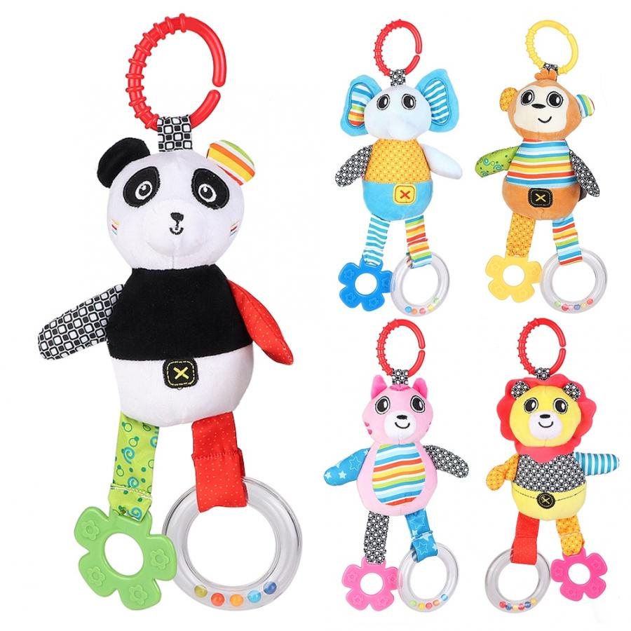 Baby Rattle Music Toy Crib Stroller Ring Bell Baby Infant Cute Plush Animals Music Hanging Toys Pacify Cloth Stroller Pull Bell