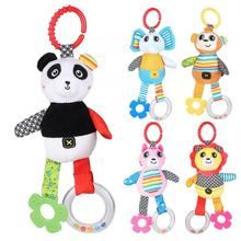 Baby Rattle Music Toy Crib Stroller Ring Bell Infant Cute Plush Animals Hanging Toys Pacify Cloth Pull