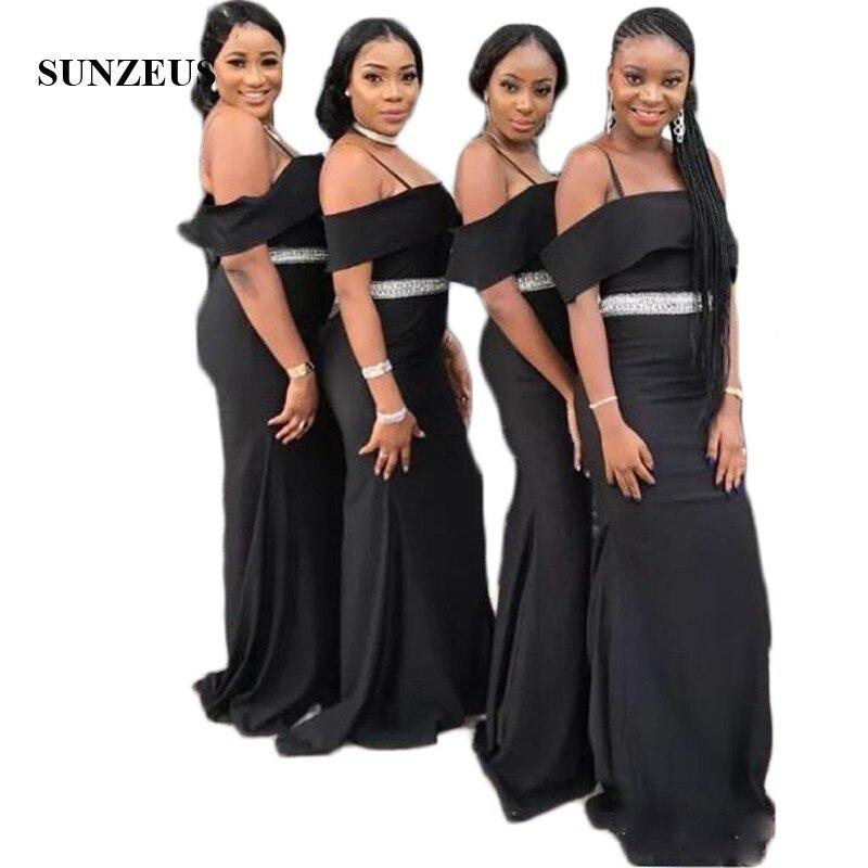 Spaghetti Straps Black Long   Bridesmaid     Dresses   Sheath Boat Neck Sexy Wedding Party   Dresses   Beaded Waist Satin Prom Gowns SBD39