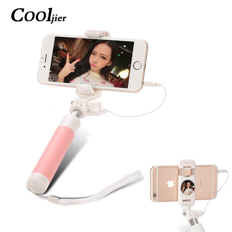 Universal Mini Selfie Stick For iPhone 6 6S plus For Xiaomi Huawei Samsung sony Mobile Phone Foldable Mirror Wired Selfie Sticks free shipping precise universal lcd screen position golden fixed mould for iphone samsung sony huawei xiaomi fixture base