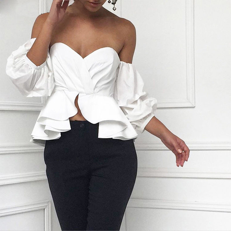 Fashion Women Sexy Off Shoulder Puff Sleeve Bud Flower Ruffles Ruched Blouses Shirts Casual Crop Tops Summer Loose Shirt Blouse