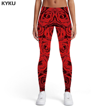 купить KYKU Rose Leggings Women Flower Sport Harajuku Printed pants Red Trousers 3d Print Womens Leggings Pants Jeggings Slim Skinny по цене 390.57 рублей
