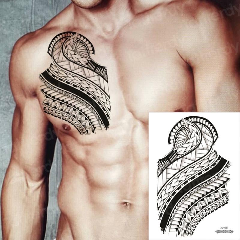 Men Shoulder Tattoos Tribal Water Tattoo Arm Sleeves Temporary Dragon Tattoo Totem Black Big Tatoo For Boys Chest Body Art Decal