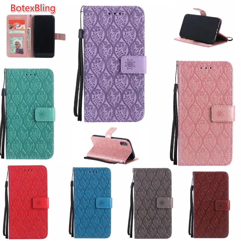 BotexBling luxury embossed rattan flower wallet leather case for iphone X 8 8plus 7 7plus 6 6s plus S8 S8plus NOTE8 cover s9