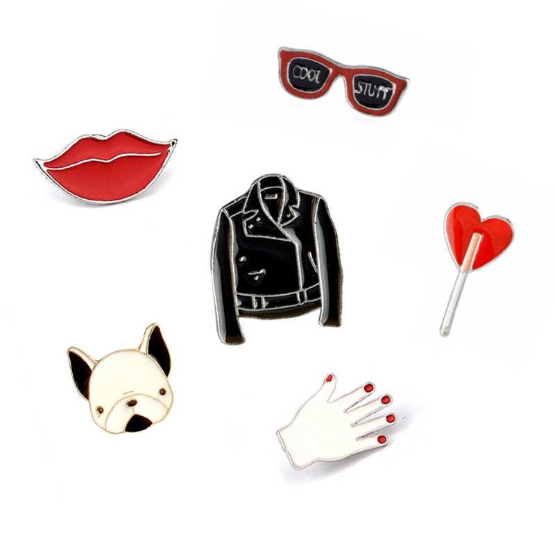 Gaya baru 6 jenis indah Kreatif Lencana Tombol Jaket Jarum Kartun Kacamata Bibir Merah Bros wanita Pin Hewan Perhiasan hadiah
