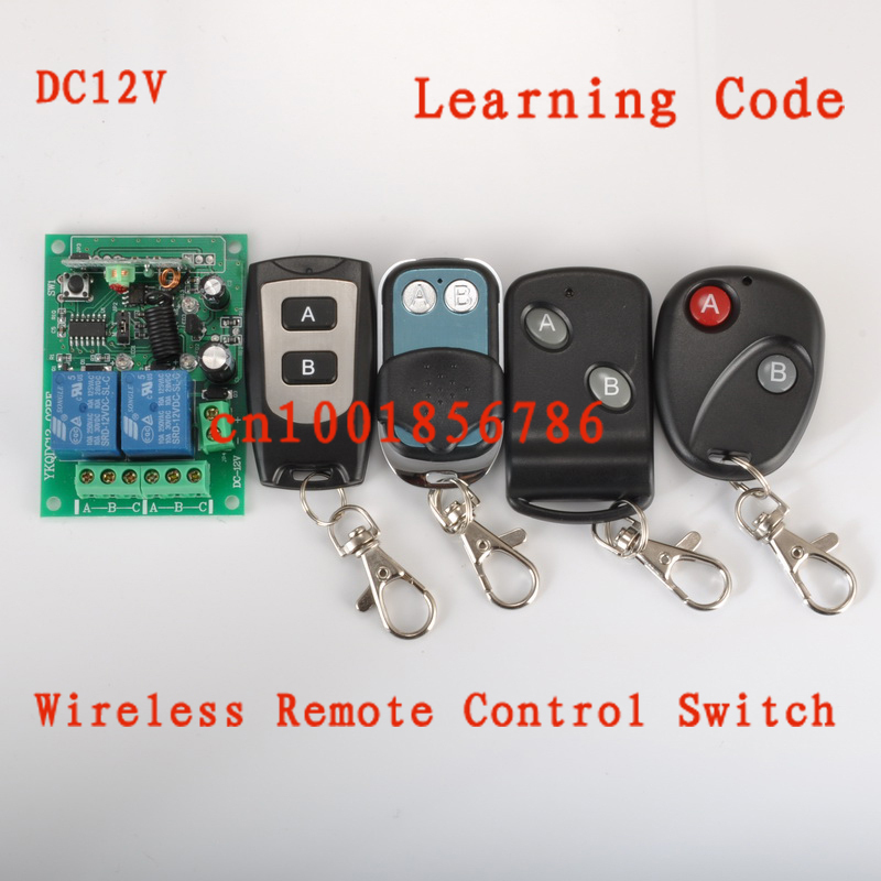 Wholesale!Learnning Code DC12V 2CH Transmitter Receiver RF Wireless Remote Control Switch System.315/433mhz Free shipping big promotion 2keys 2ch 315 433mhz rf wireless remote control black transmitter without receiver on off