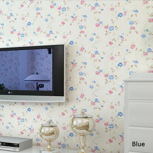 Papel De Parede Floral 3D Wall Paper Flower Texture Kids Room Living Home Decor 10m PVC Wallpaper Waterproof Beige Blue
