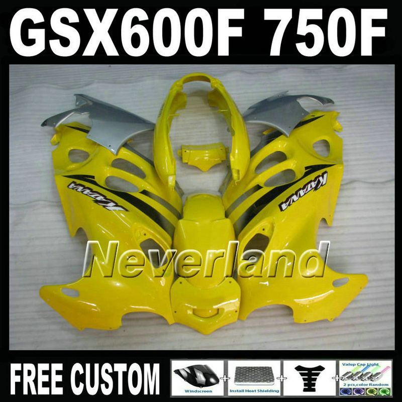 Free customize mold fairing kit for Suzuki GSX 600F 750F 95 96 97-05 yellow silver fairings set GSX600F 1995 1996-2005 LM43 free customize mold fairing kit for suzuki gsx 600f 750f 95 96 97 05 red black fairings set gsx600f 1995 1996 2005 lm41