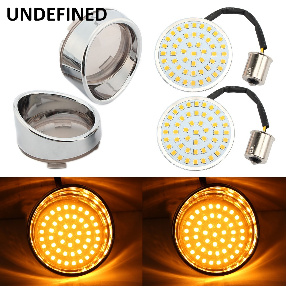 Motorcycle Bullet Amber LED Turn Signal Light 1156 Inserts   Lens Cover For Harley Sportster XL Electra Tri Glide Softails FLSTF