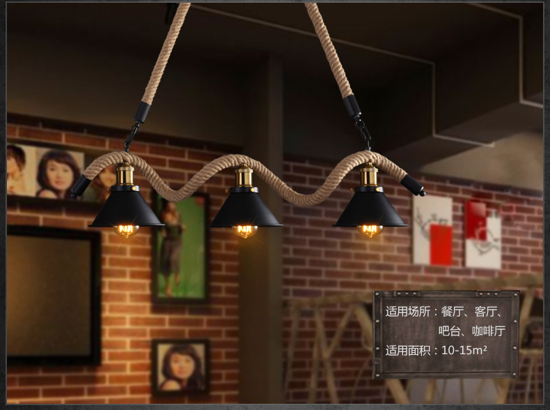 Edison Loft Style Hemp Rope Droplight Industrial Vintage Pendant Light Fixtures For Dining Room Hanging Lamp
