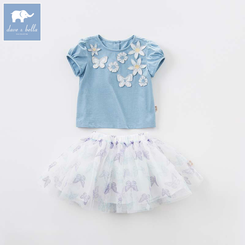 Dave bella baby butterfly printing summer tops+skirt 2 pcs suit children lovely clothes high quality girls clothing sets DBB6882 fashion baby girls clothing sets new summer 2017 sleeveless tops tees lace skirt 2 pcs suit casual children pullover clothes