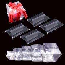 10pcs Clear PVC Wedding Candy Box Transparent Square Pillow