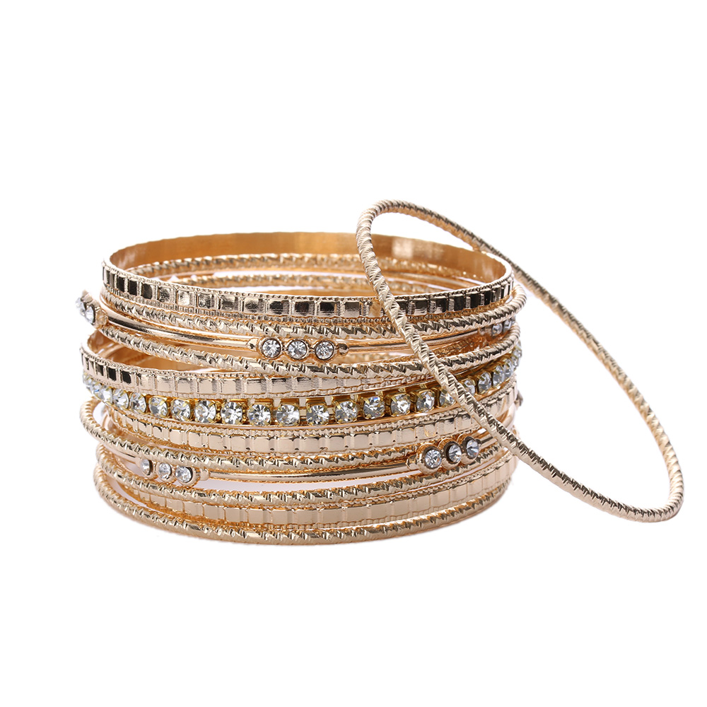 Bangles Bracelets-Set Jewelry Circle Metal-Wire Silver-Plated Gold Party Retro-Style
