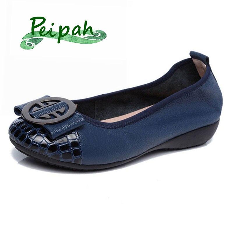 PEIPAH Designer Spring Genuine Leather Women Ballet Flats Shoes Casual Slip-On Soft Metal Decoration Boat Shoe Women Flat Shoes