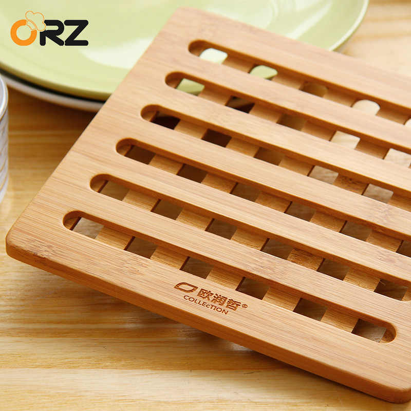ORZ 18cm Bamboo Hot Pad Cup Dish Plate Non Slip Holder Kitchen Hot Plate Trivet Heat Mat Resistant Table Decorative