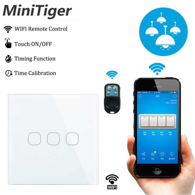 Minitiger EU Smart Home Wifi luz de pared Interruptor táctil 1 banda WiFi/433 RF/APP luz Wifi remota interruptor de Panel de cristal