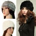 Bes skyman #3001 1 UNID Nueva Moda Para Mujer de Piel de Conejo Real Punto Hat Cap Winter Buena Calidad Caliente