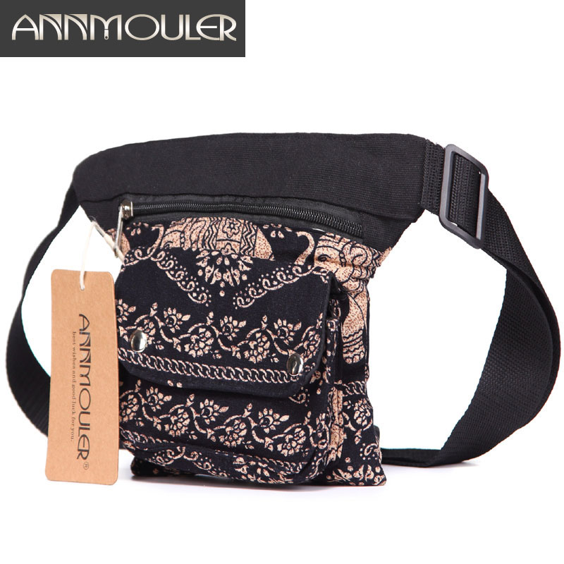Annmouler Vintage Women Waist Belt Bag Adjustable Fanny Pack Bohemian Style Waist Pack Multi-pocket Phone Pouch Bag For Gifts