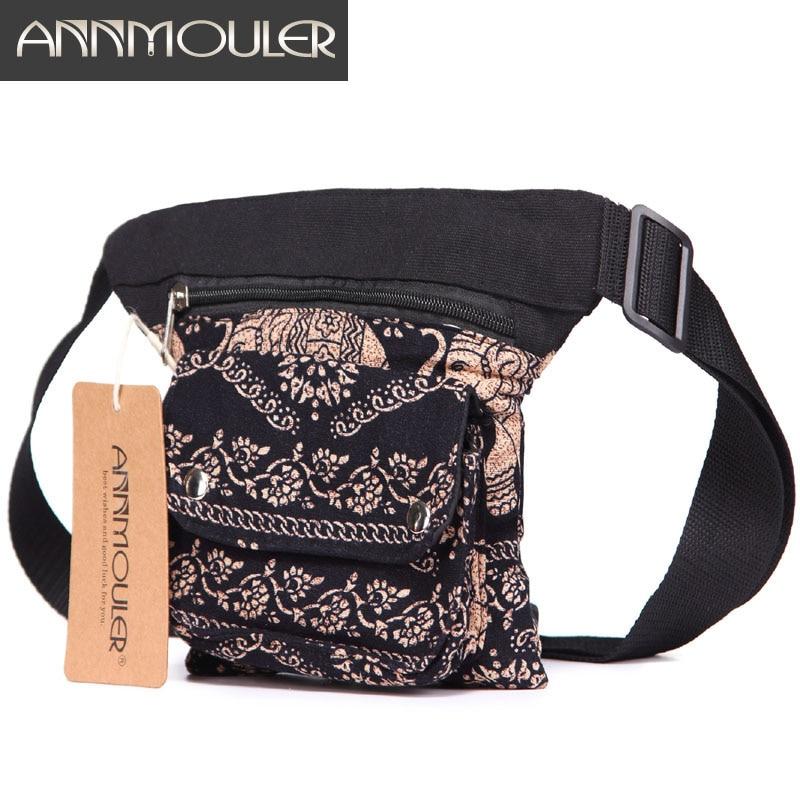 Annmouler Vintage Women Waist Belt Bag Adjustable Fanny Pack Bohemian Style Waist Pack Multi-pocket Phone Pouch Bag For Gifts