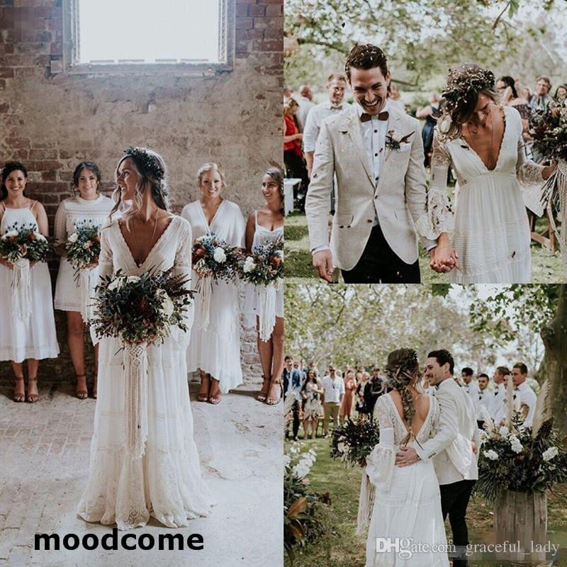 8efe456e1771 Vintage Crochet Lace Long Bubble Sleeve Boho Wedding Dresses 2018 Modest  V-neck Low Back