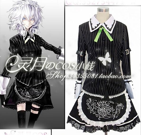 Custom Size Touhou Project Cosplay Izayoi Sakuya Cosplay Anime Maid Costume Dress