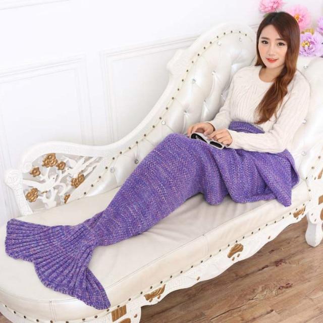 Yarn knitted Mermaid Tail blanket handmade crochet Fish Style blanket adult throw bed Wrap super soft sleeping bag  Loves Gift