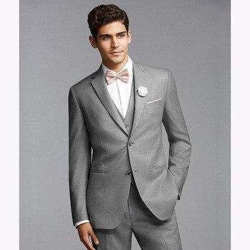 2017 Men wedding Suit Groom Tuxedo slim Bridegroom mens Suits Slim Fit Light Grey Side Vent terno masculino (Jacket+Pants+Vest) фото
