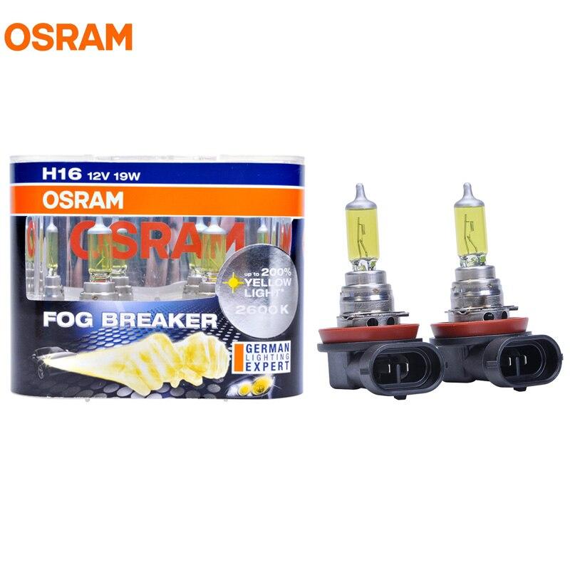 New OSRAM H16 12V 19W 2600K 62219FBR Fog Breaker Series Xenon Super Yellow Fog Lamps Car Light 200% More Yellow Bulbs Pair