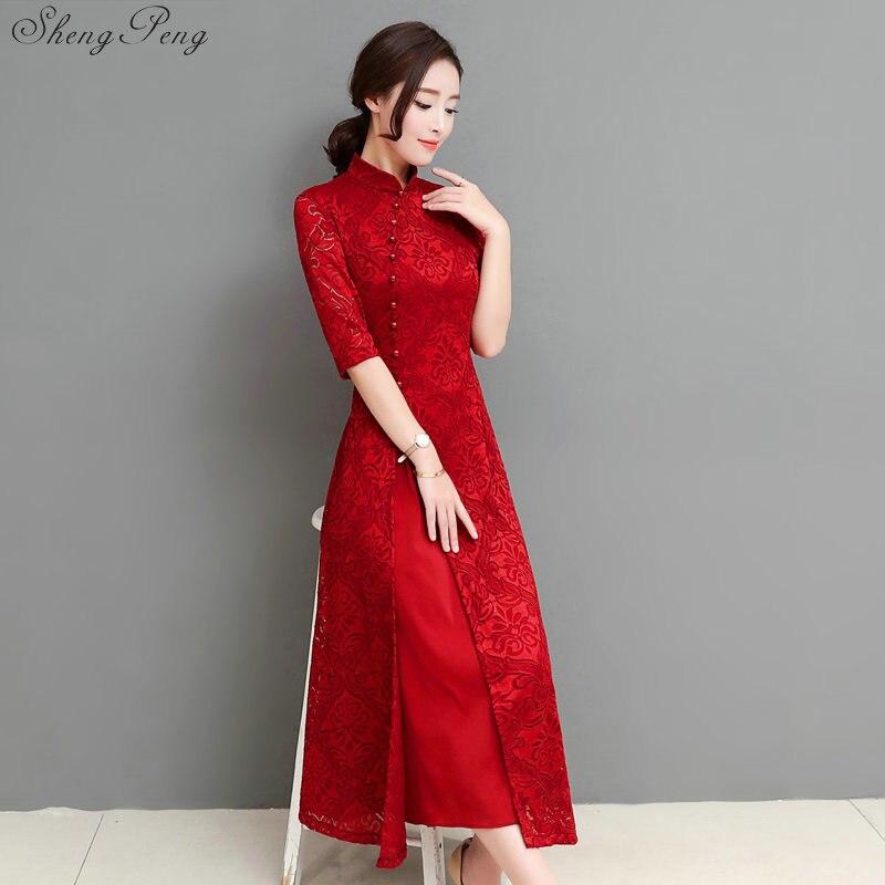 2018 summer women elegant retro chinese traditional dress silk cotton cheongsam female lady wedding casual design qipao CC553