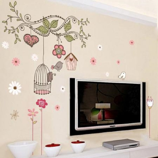 Colourful Tree Flowers Bird Cage Girls Bedroom Wall Stickers Mural Vinyl  Decor Part 36