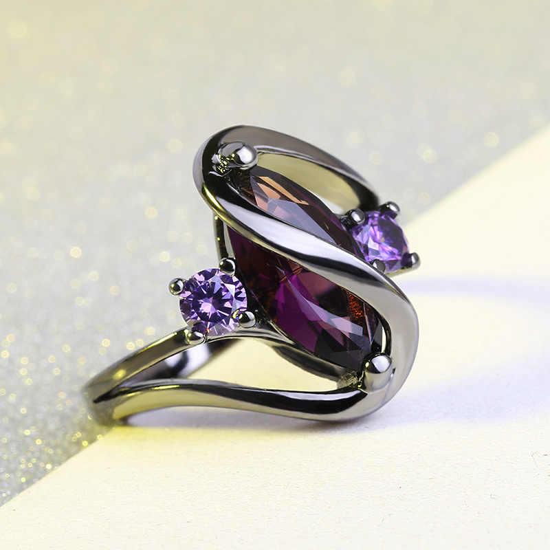 ขายร้อน 925 แฟชั่นแหวนเงินผู้หญิง Bright สีดำแหวนหินสีม่วงคริสตัลเลดี้