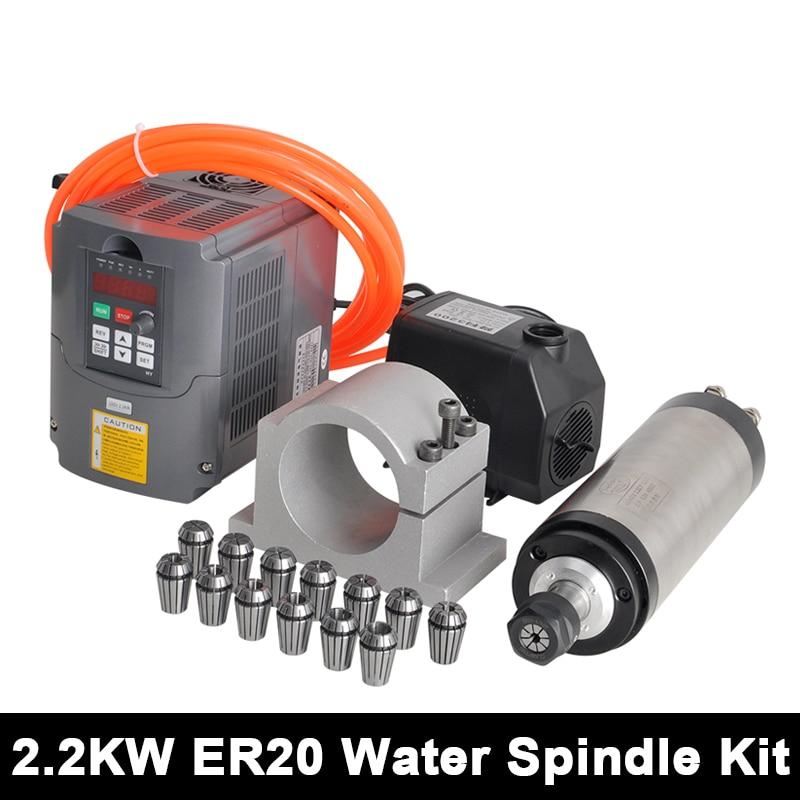 2.2kw CNC Spindle Motor ER20 Water Cooled Spindle 220v VFD Inverter 80mm Clamp Water Pump/Pipe 13pcs ER20 For Engraving Machine