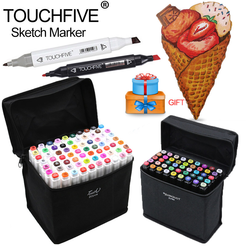 Touchfive Art Sketch Marker 30 40 60 80 Colors Set Oily Alcoholic Dual Headed Art Painting Markers Art Supplies Manga Design Pen touchfive marker 60 80 168 color alcoholic oily based ink marker set best for manga dual headed art sketch markers brush pen